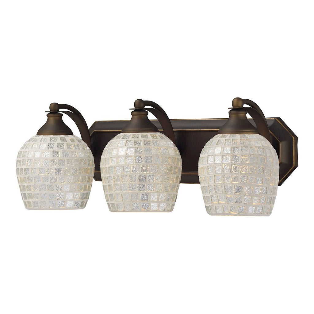 Bath And Spa 3 Light Vanity In Aged Bronze And Silver Glass Wall Elk Lighting