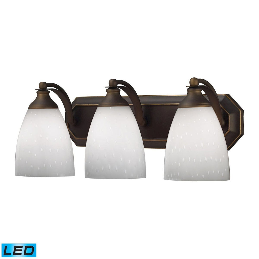 Bath And Spa 3 Light LED Vanity In Aged Bronze And Simple White Glass Wall Elk Lighting