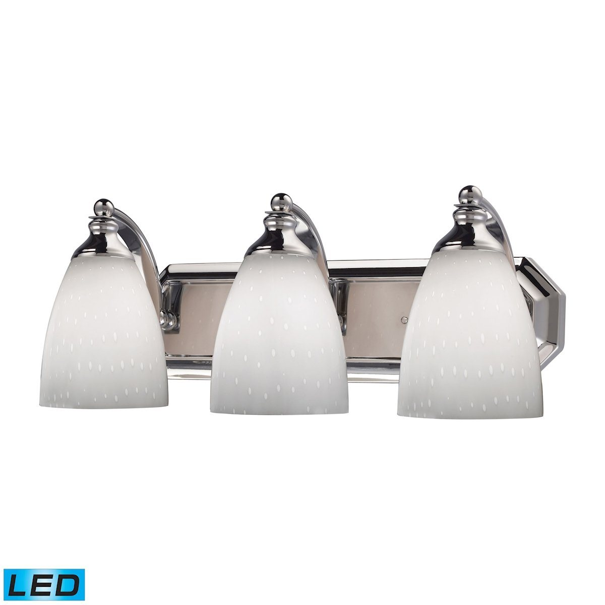 Bath And Spa 3 Light LED Vanity In Polished Chrome And Simple White Glass Wall Elk Lighting