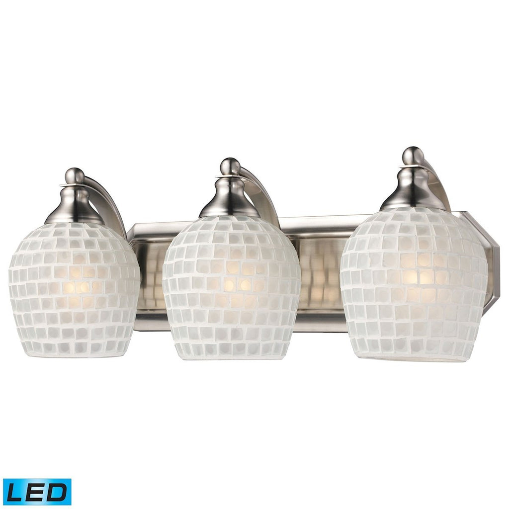 Bath And Spa 3 Light LED Vanity In Satin Nickel And White Glass Wall Elk Lighting