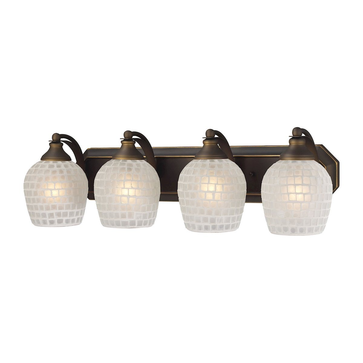 Bath And Spa 4 Light Vanity In Aged Bronze And White Glass Wall Elk Lighting