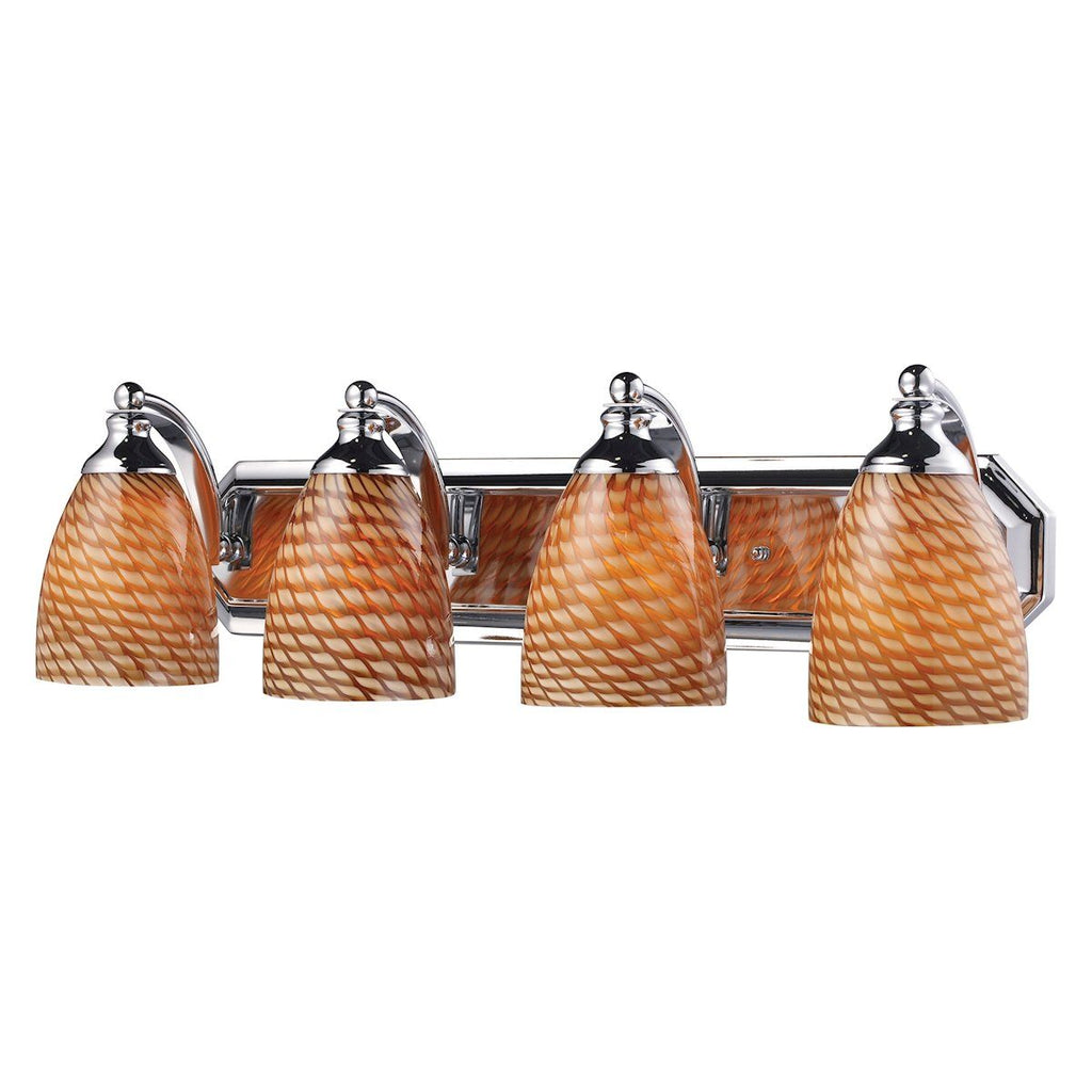 Bath And Spa 4 Light Vanity In Polished Chrome And Cocoa Glass Wall Elk Lighting