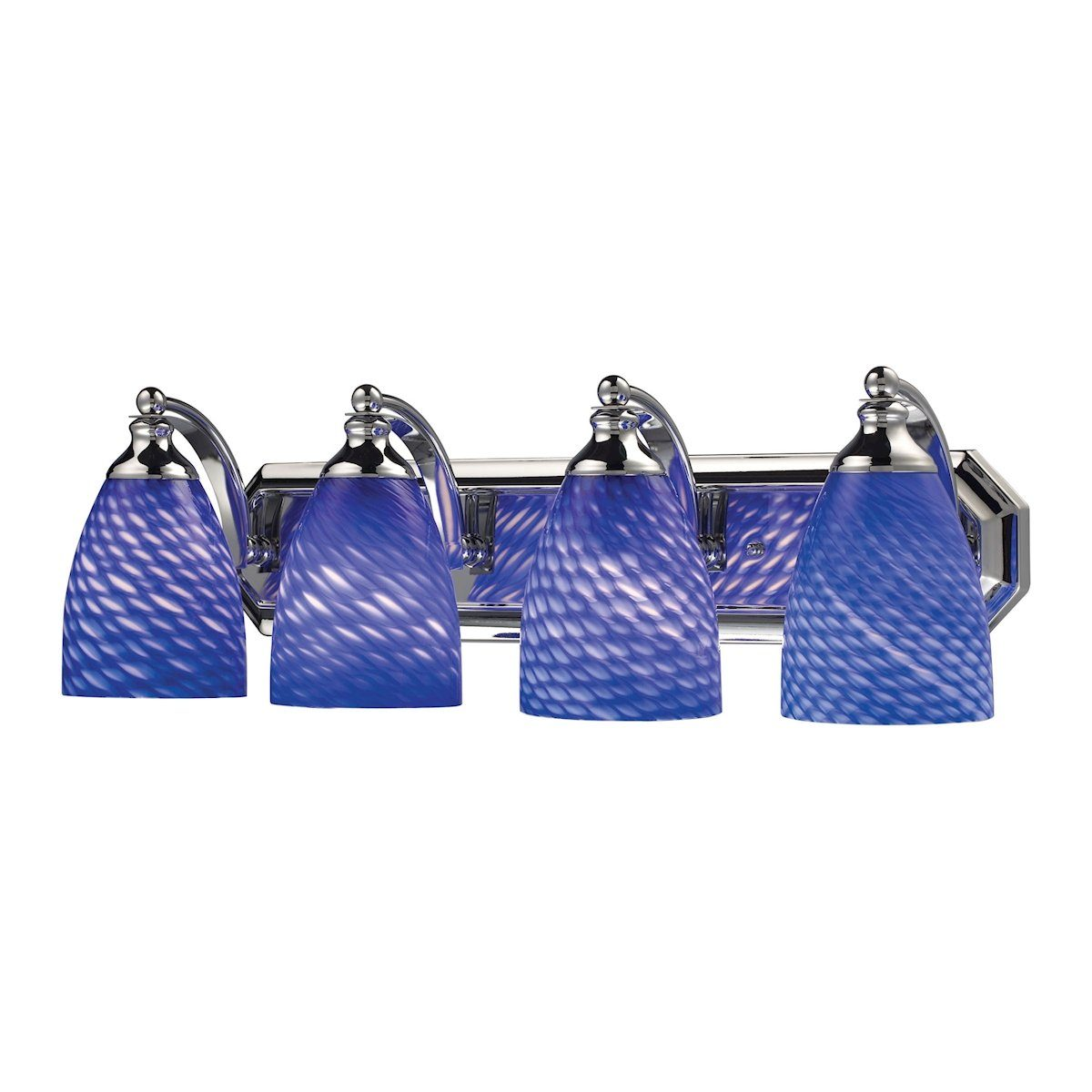 Bath And Spa 4 Light Vanity In Polished Chrome And Sapphire Glass Wall Elk Lighting