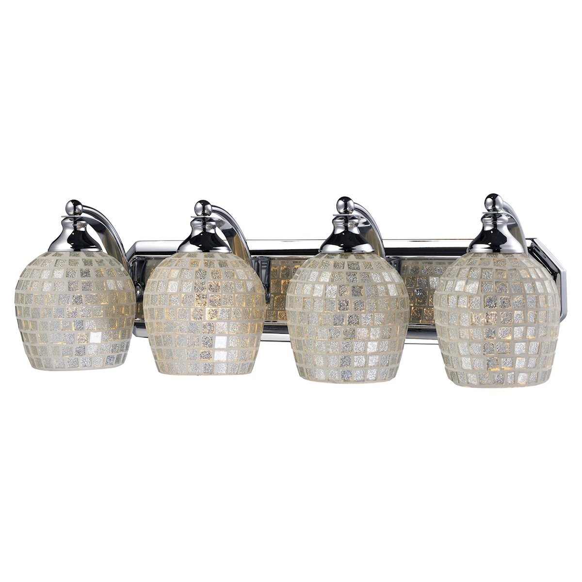 Bath And Spa 4 Light Vanity In Polished Chrome And Silver Glass Wall Elk Lighting