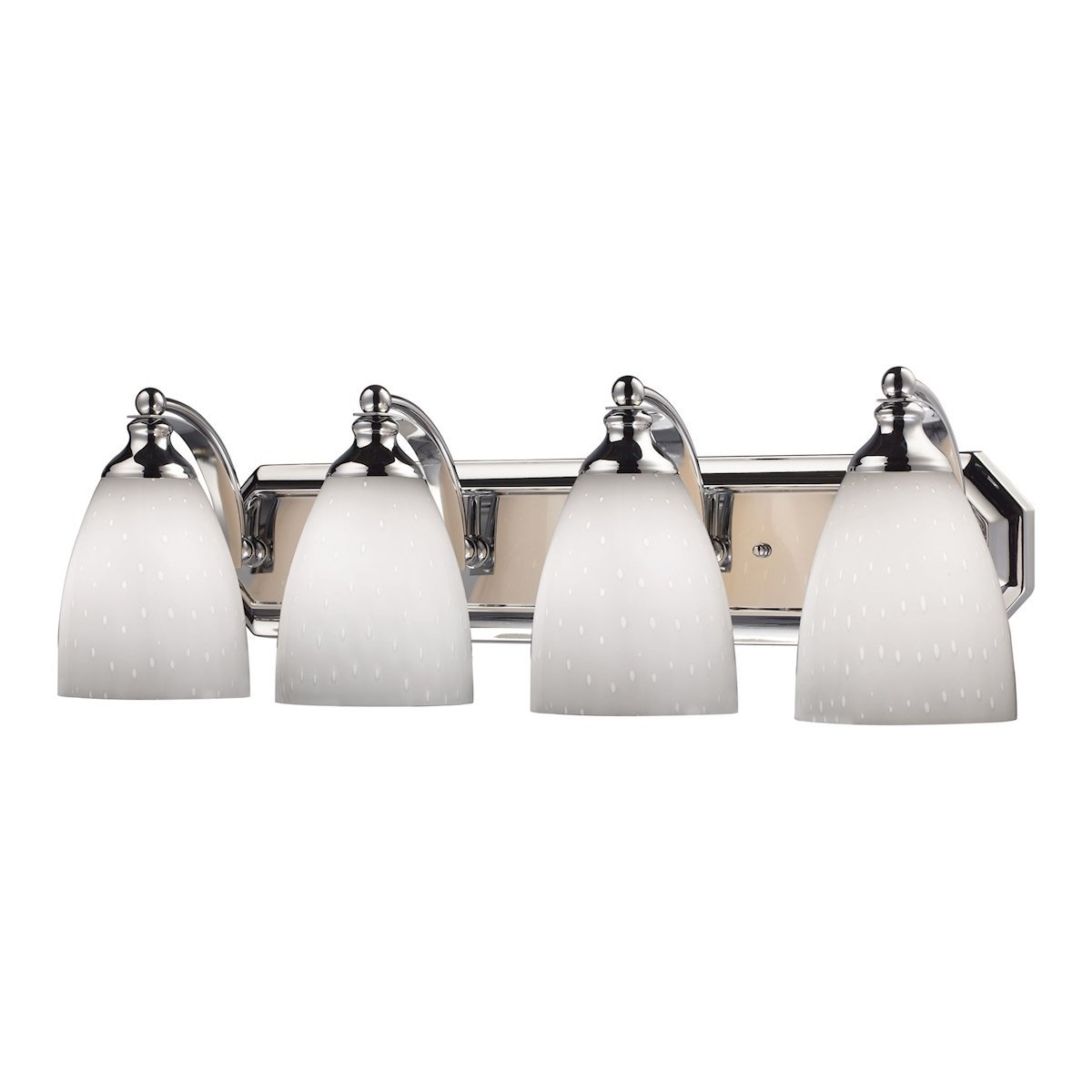 Bath And Spa 4 Light Vanity In Polished Chrome And Simple White Glass Wall Elk Lighting