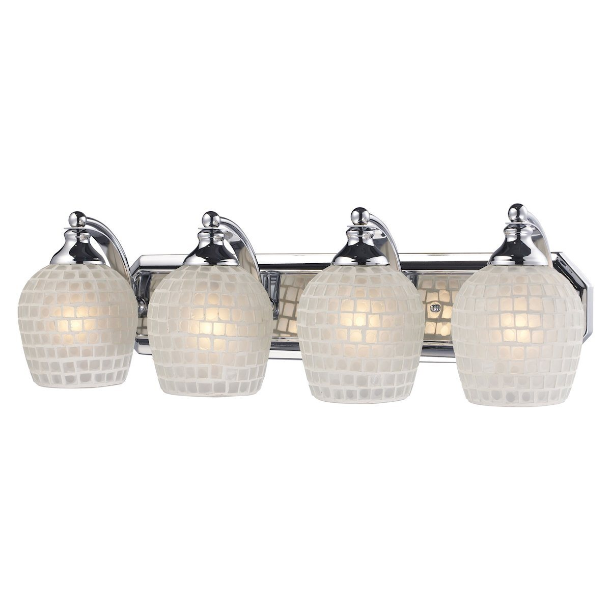 Bath And Spa 4 Light Vanity In Polished Chrome And White Glass Wall Elk Lighting