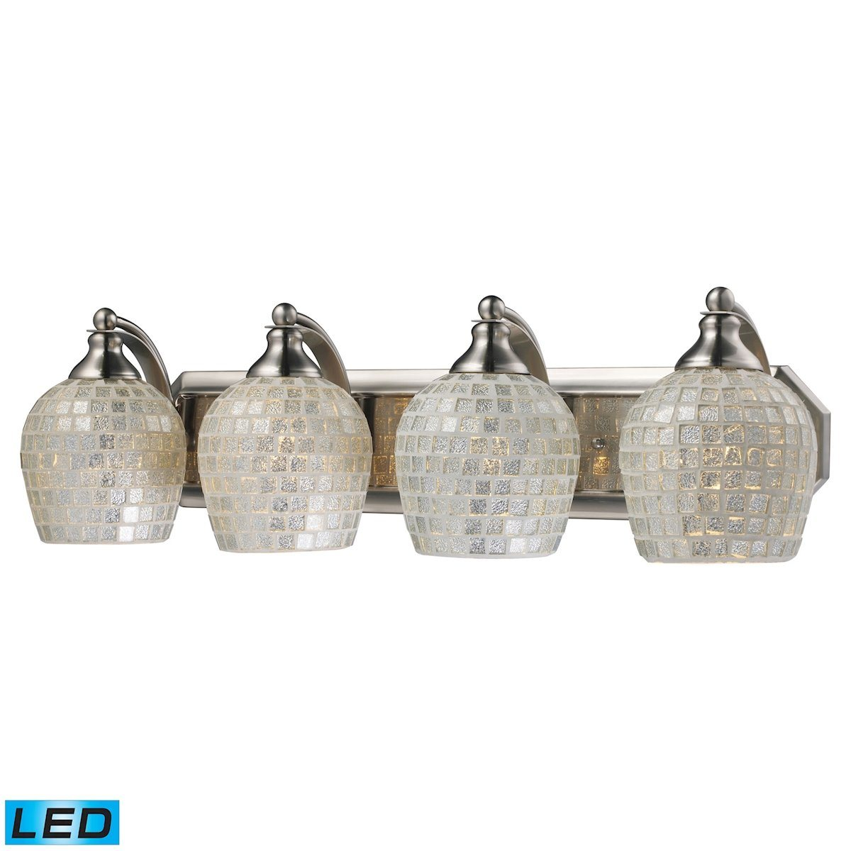 Bath And Spa 4 Light LED Vanity In Satin Nickel And Silver Glass Wall Elk Lighting