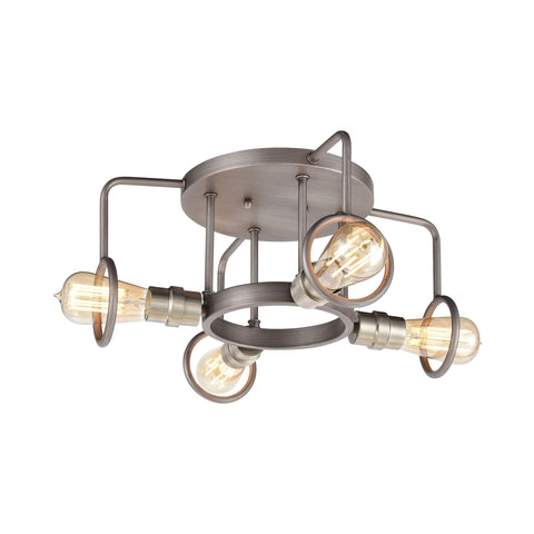 Billings 4-Light Semi Flush Mount in Weathered Zinc