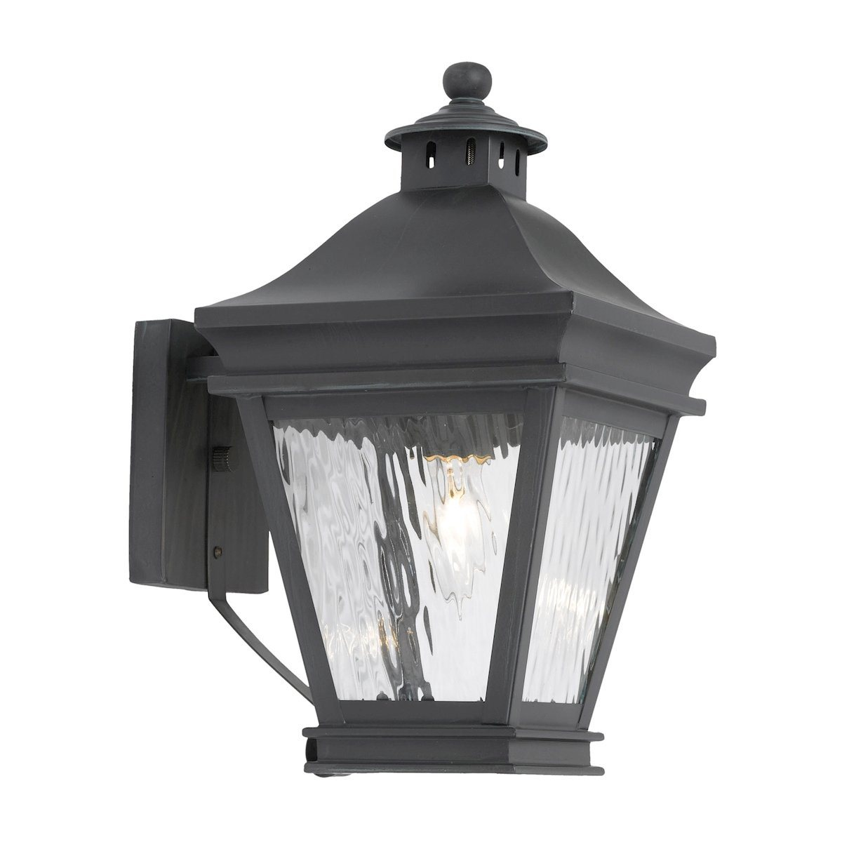 Landings Outdoor Wall Lantern In Charcoal And Water Glass Outdoor Wall Elk Lighting