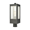 Angus 1-Light Outdoor Post Mount in Charcoal with Seedy Glass Enclosure