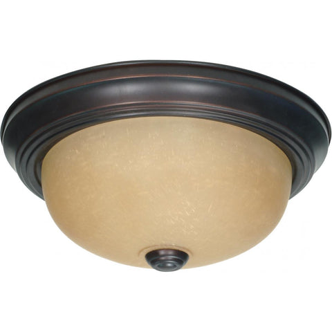 "2 Light 11"" Flush Mount with Champagne Linen Washed Glass Ceiling Nuvo Lighting"