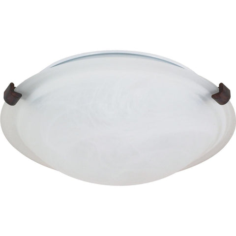 "2 Light 16"" Flush Mount Tri-Clip with Alabaster Glass"