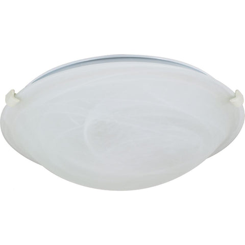 "1 Light 12"" Flush Mount Tri-Clip with Alabaster Glass"