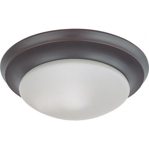"1 Light 12"" Flush Mount Twist & Lock with Frosted White Glass"