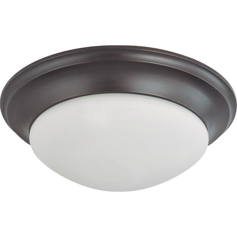 "17"" Bronze Flush Mount with Frosted White Glass Ceiling Nuvo Lighting"