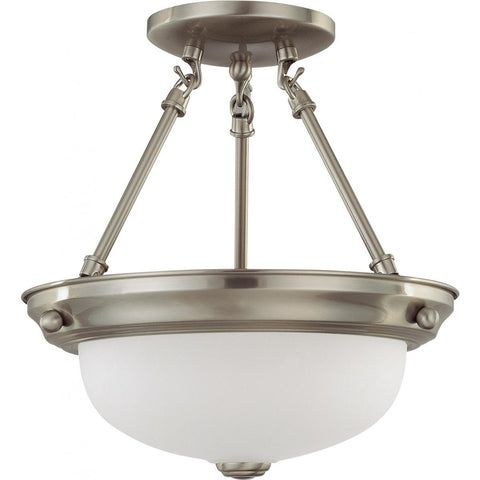 "2 Light 11"" Semi-Flush with Frosted White Glass Ceiling Nuvo Lighting"