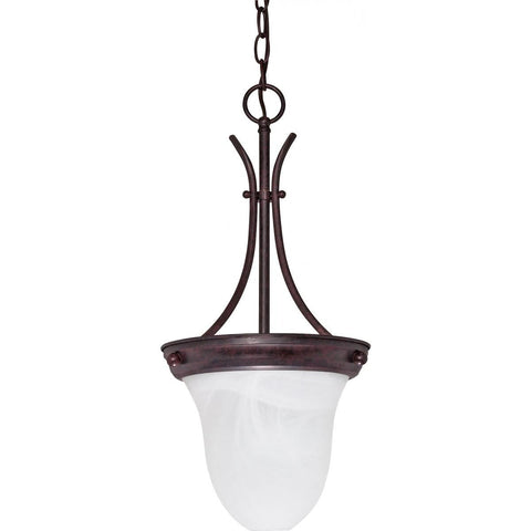 "1 Light 10"" Pendant Alabaster Glass Bell"