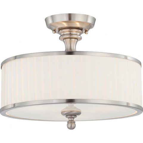 Candice 3 Light Semi Flush Fixture with Pleated White Shade