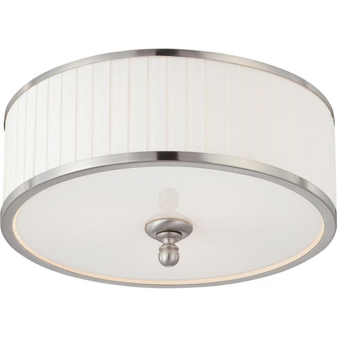 Candice 3 Light Flush Dome Fixture with Pleated White Shade Ceiling Nuvo Lighting