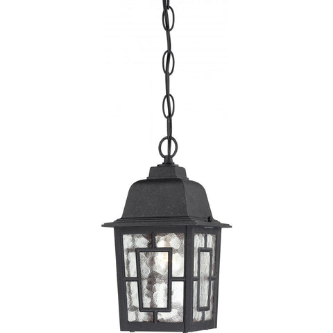 "Banyan 11"" Outdoor Hanging Black Lantern with Clear Water Glass"