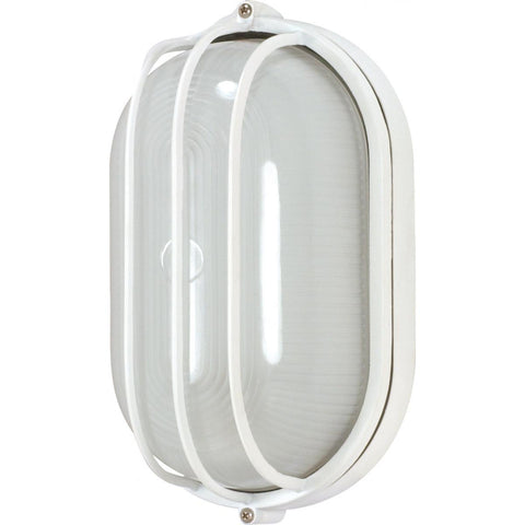 "1 Light 10"" Oval Cage Bulk Head Die Cast Bulk Head"