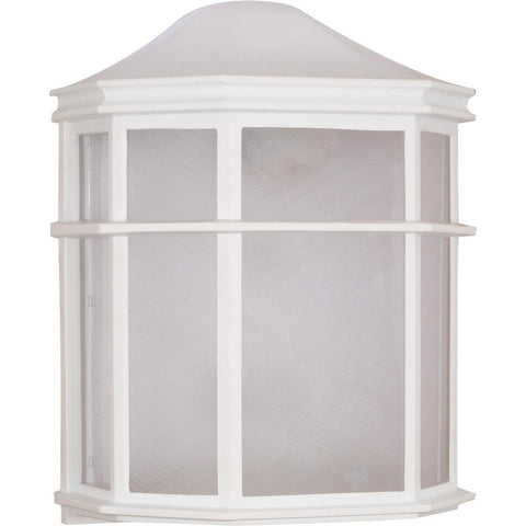 "1 Light 10"" Cage Lantern Wall Fixture Die Cast Linen Acrylic Lens"