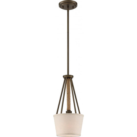 Mini pendant lighting ceiling lights dazzling spaces dazzling nuvo lighting 1 light seneca mini pendant mahogany bronze finish with wrapped rope beige linen fabric mozeypictures Images