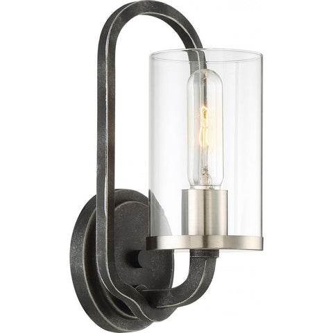 Nuvo Lighting 1 Light Sherwood Wall Sconce Iron Black with Brushed Nickel Accents Finish Clear Glass Lamp Included 60/6121