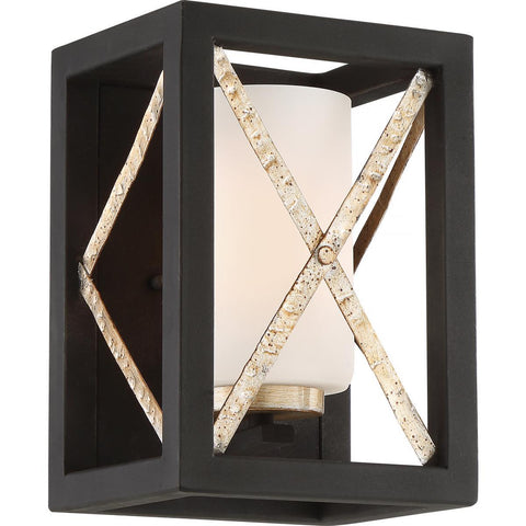 Nuvo Lighting 1 Light Boxer Wall Sconce Matte Black with Antique Silver Accents Finish Satin White Glass 60/6131