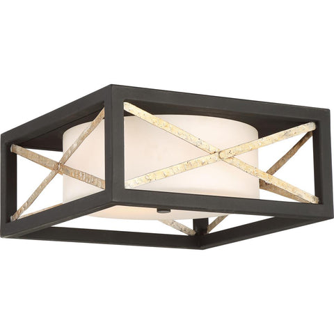 Nuvo Lighting 2 Light Boxer Flush Mount Fixture Matte Black with Antique Silver Accents Finish Satin White Glass 60/6132