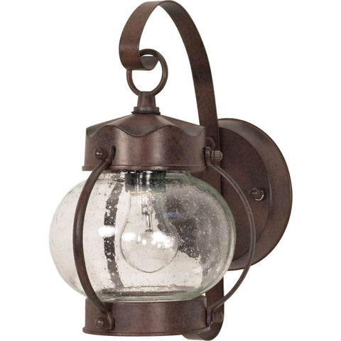 "11"" Wall Lantern Onion Lantern with Clear Seed Glass"