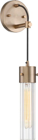 Eaves Wall Sconce - Copper Brushed Brass with Clear Ribbed Glass