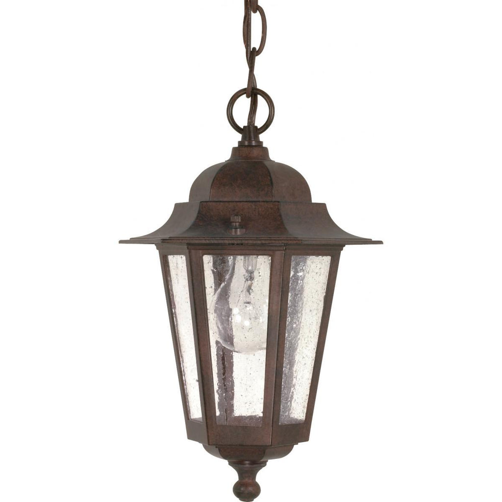 "Cornerstone 13"" Hanging Lantern with Clear Seed Glass Outdoor Nuvo Lighting"