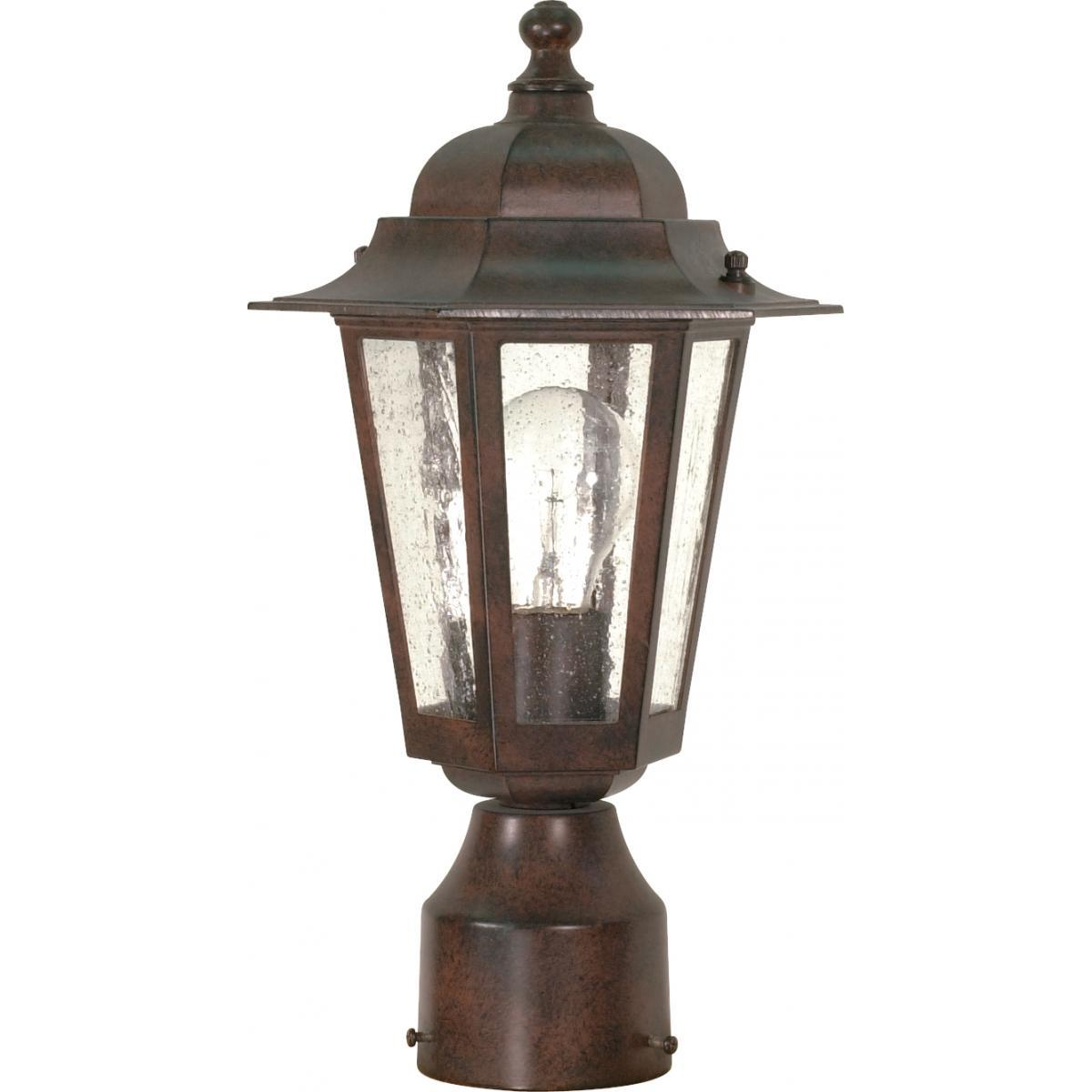 "Cornerstone 14"" Post Lantern with Clear Seed Glass Outdoor Nuvo Lighting"