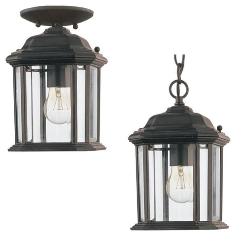 Kent One Light Outdoor Semi-Flush Convertible Pendant - Black