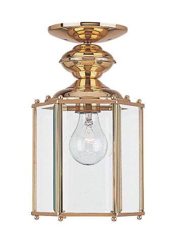 Classico One Light Outdoor Semi-Flush Convertible Pendant - Polished Brass Outdoor Sea Gull Lighting
