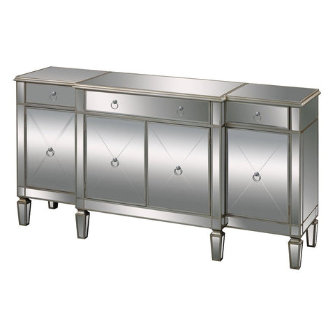"Bodrum 70""w Buffet Server In Clear Mirror And Silver Leaf Furniture Sterling"