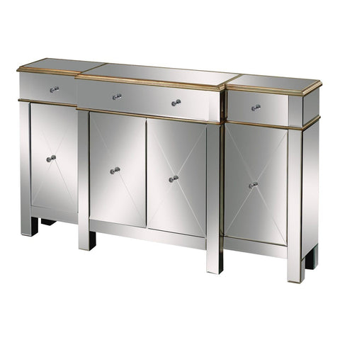 Bordeaux Buffet Server In Clear Mirror And Champagne Silver Leaf Furniture Sterling
