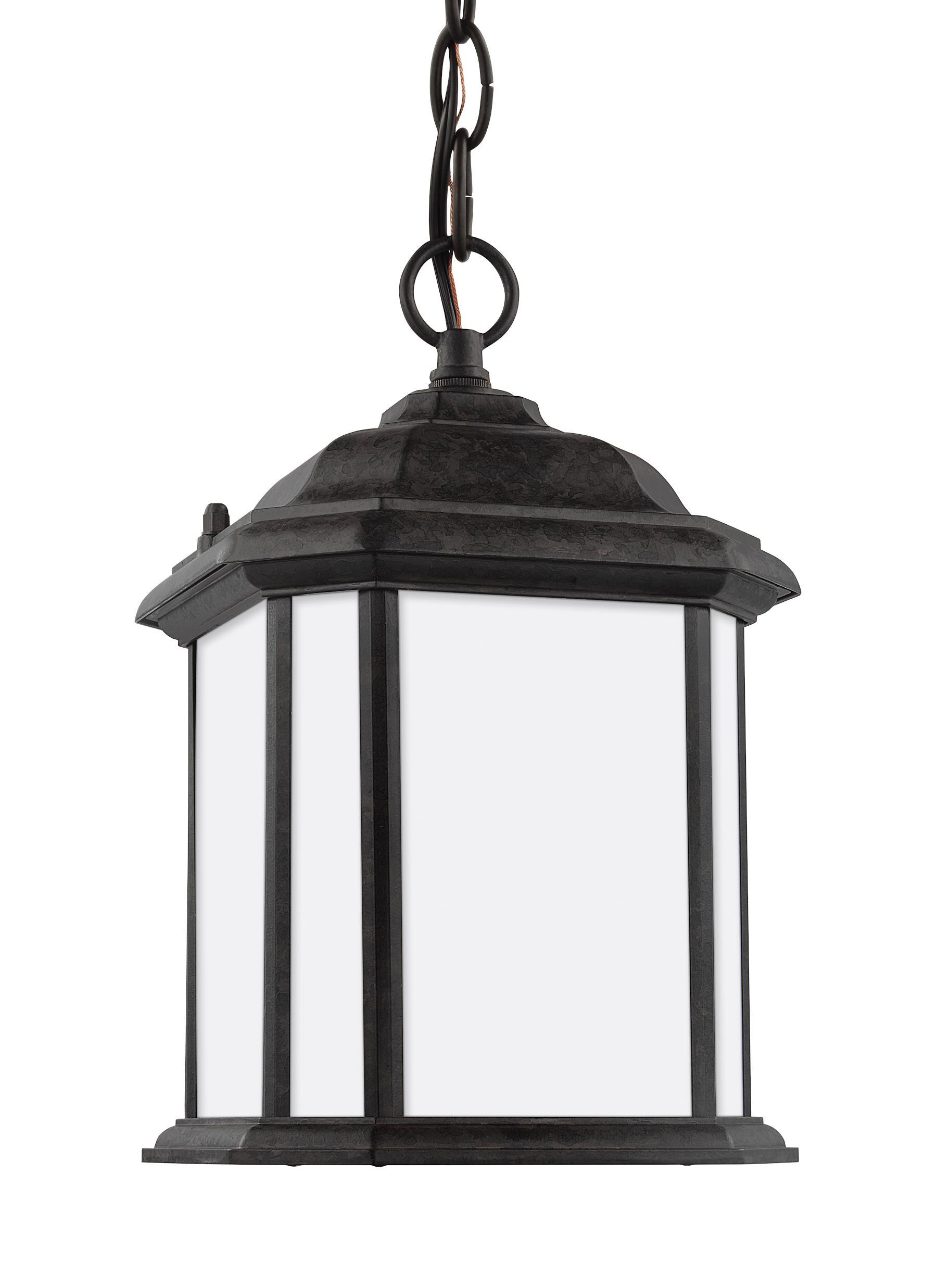 Kent One Light Outdoor Semi-Flush Convertible LED Pendant - Oxford Bronze Outdoor Sea Gull Lighting