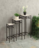 3 piece travertine square plant stands