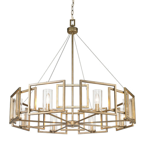 Marco 8 Light Chandelier in White Gold with Clear Glass Ceiling Golden Lighting