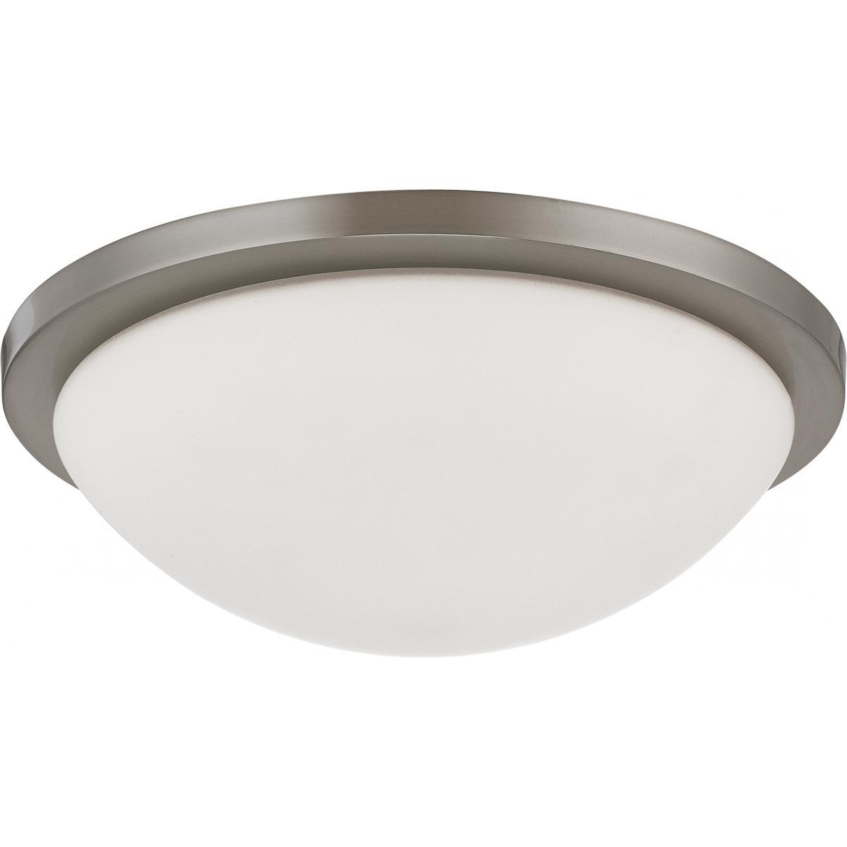 "Button LED 13"" Flush Mount Fixture Brushed Nickel Finish Lamps Included Ceiling Nuvo Lighting"