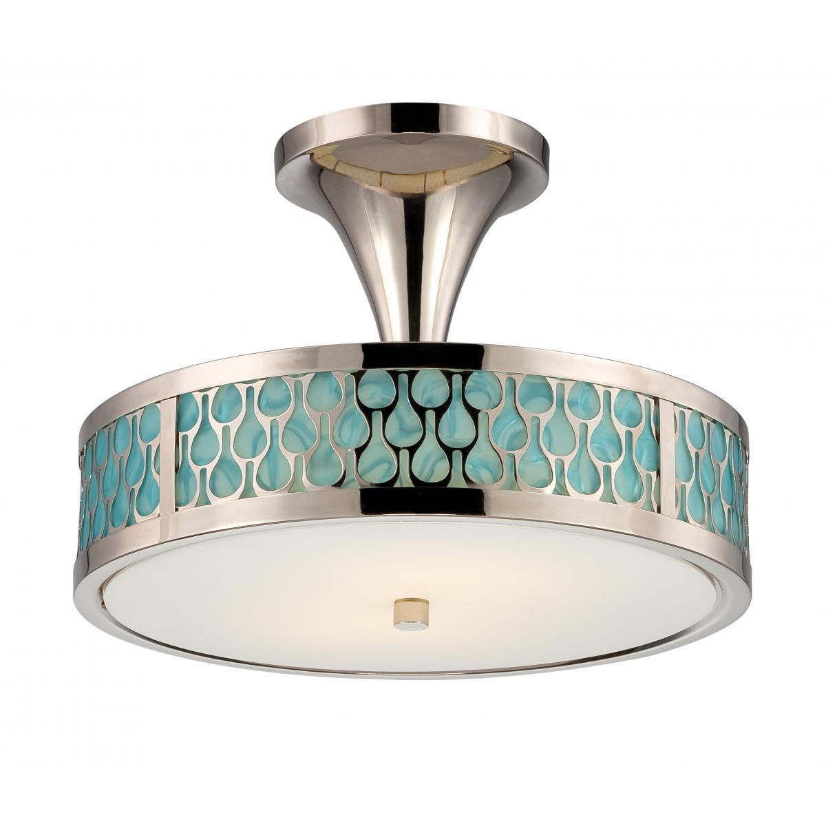 Raindrop 2 Module Semi-Flush Dome with White Glass and Removable Aquamarine Insert Ceiling Nuvo Lighting