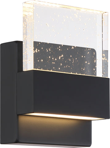 Ellusion LED Small Wall Sconce - 15W - Matte Black with Seeded Glass