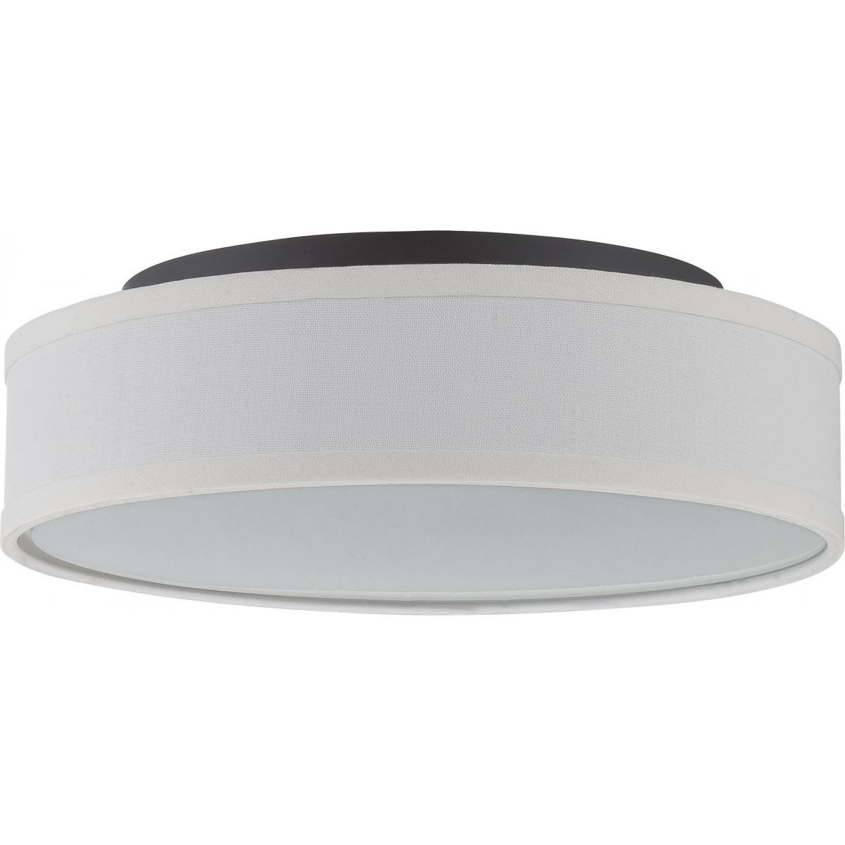Heather LED Flush Fixture with White Linen Shade Ceiling Nuvo Lighting