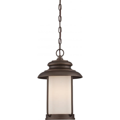Bethany LED Outdoor Hanging with Satin White Glass Outdoor Nuvo Lighting Bronze