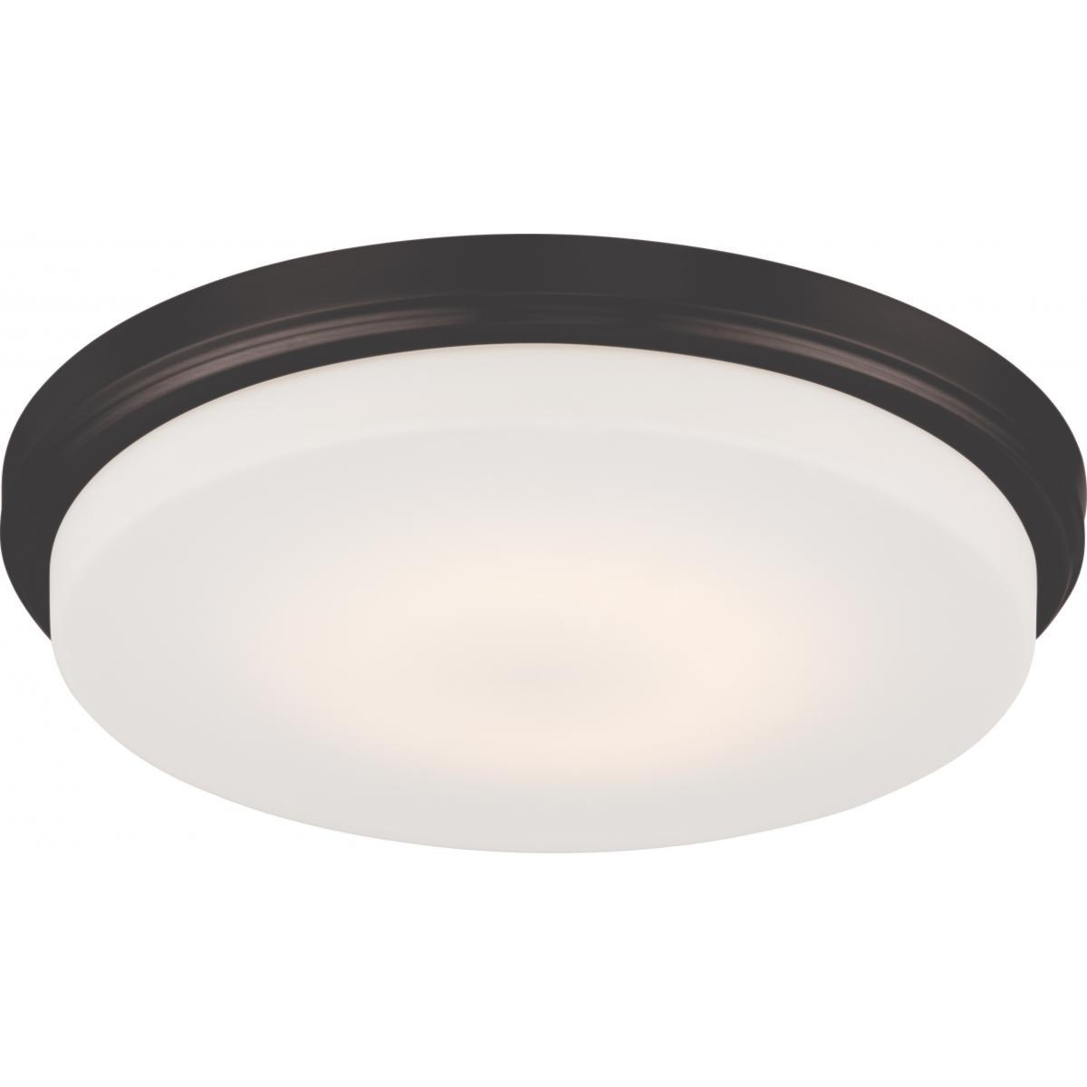 Dale LED Flush Fixture with Opal Frosted Glass Ceiling Nuvo Lighting Bronze
