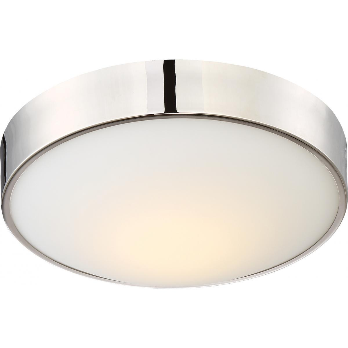 "Perk 13"" LED Flush with White Glass Ceiling Nuvo Lighting"