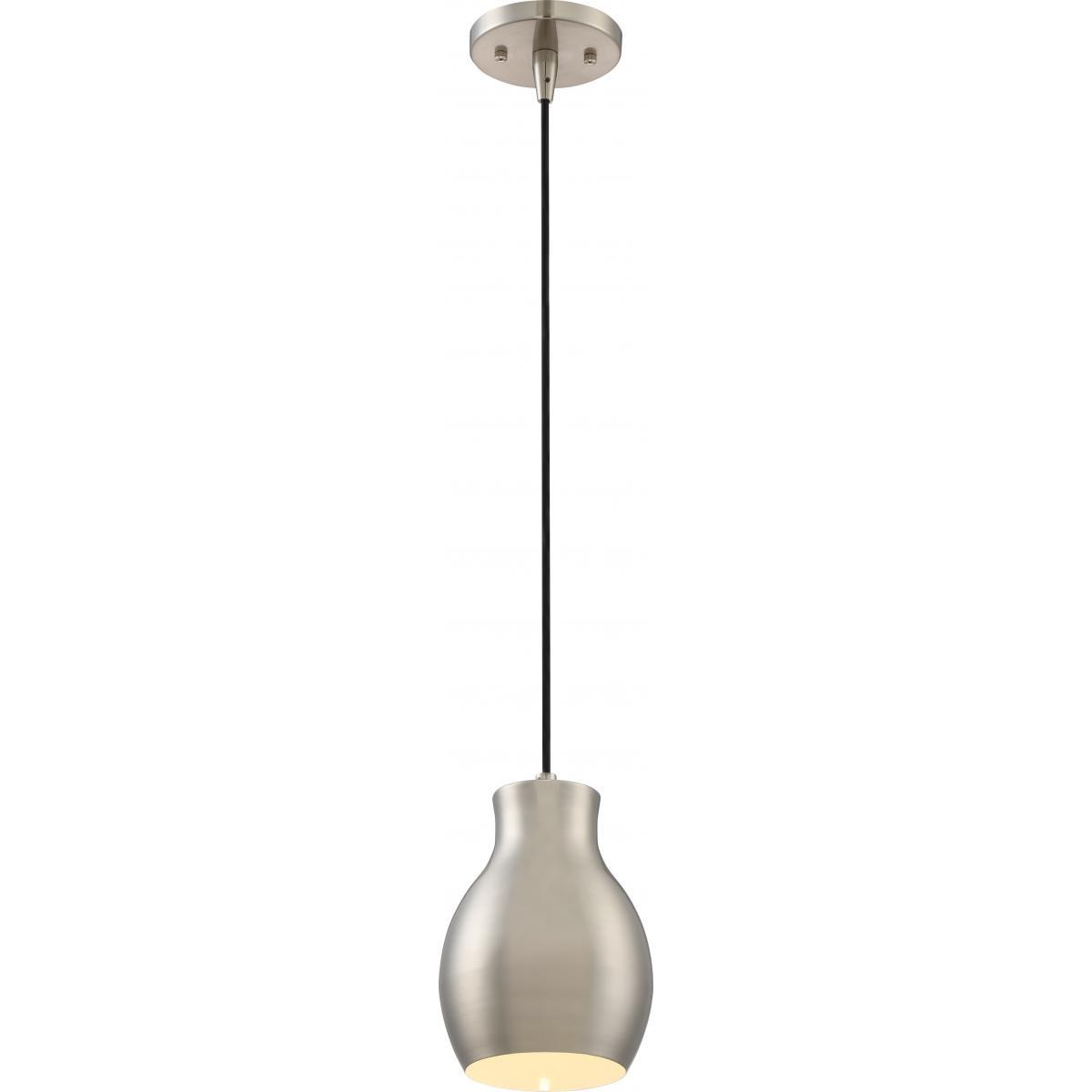 Vessel LED Mini Pendant Brushed Nickel / White Accent Finish Ceiling Nuvo Lighting