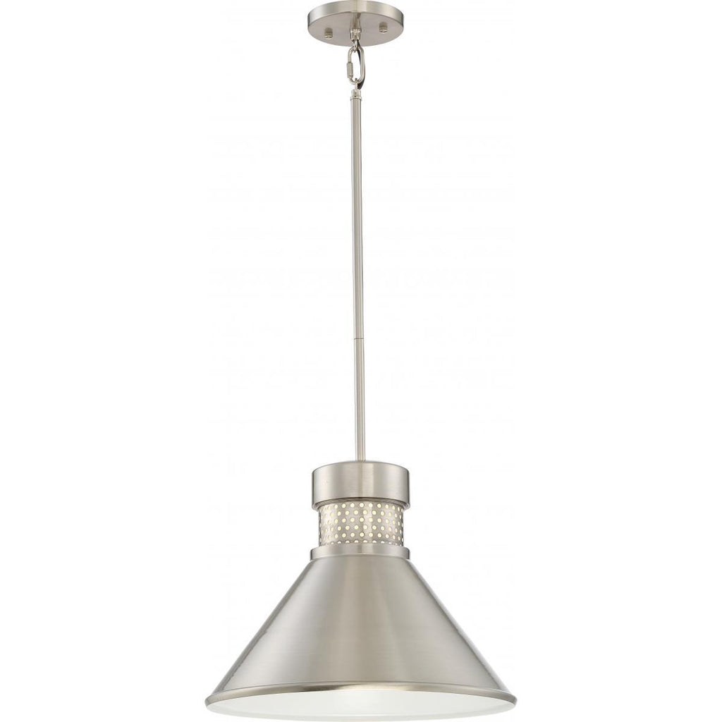 Doral Large LED Pendant Brushed Nickel / White Accent Finish Ceiling Nuvo Lighting